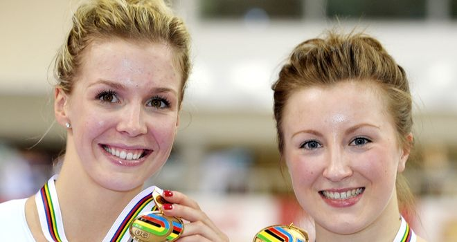 Becky James, left, and Vicky Williamson won a surprise bronze in the women's team sprint