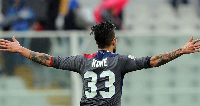 Panagiotis Kone celebrates Bologna's winner