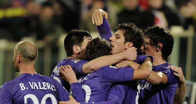Stevan Jovetic (centre) celebrates as Fiorentina take charge