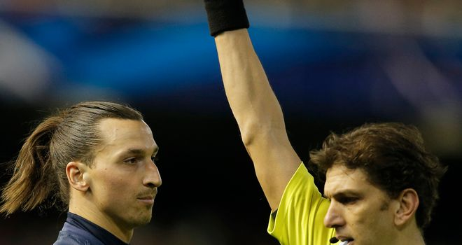 Zlatan Ibrahimovic: Was sent off against Valencia