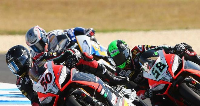Sylvain Guintoli leads Eugene Laverty in race one at Philip Island