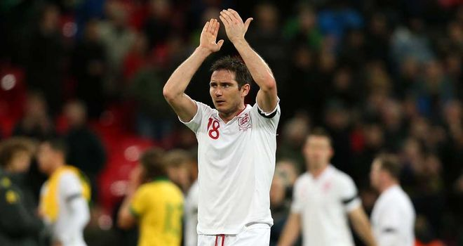 Frank Lampard salutes the Wembley crowd after England's win over Brazil