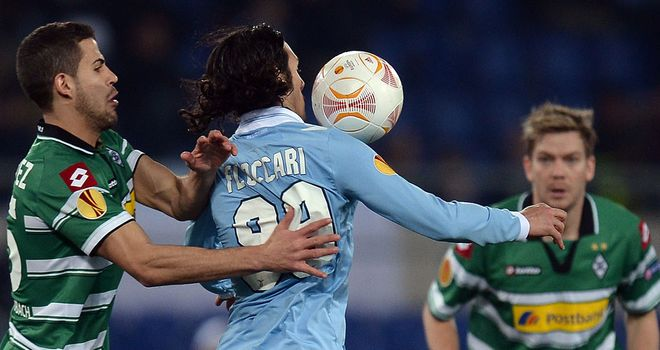 Stefano Floccari in action during Lazio's Europa League tie with Borussia Monchengladbach
