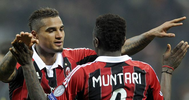 Kevin Prince Boateng and Sulley Muntari: On target for Milan