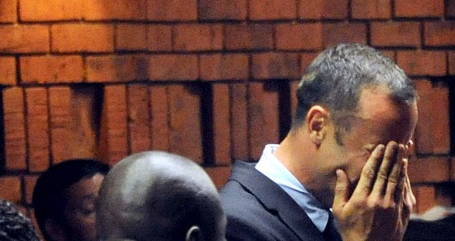 Oscar Pistorius: Wept in court in Pretoria on Friday morning.