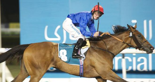 Hanagan celebrates on Shuruq (Dubai Racing Club/ Andrew Watkins)