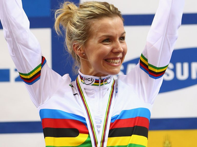 Becky James celebrates her victory