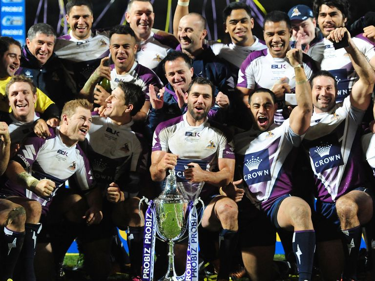 Melbourne Storm celebrate winning the World Club challenge