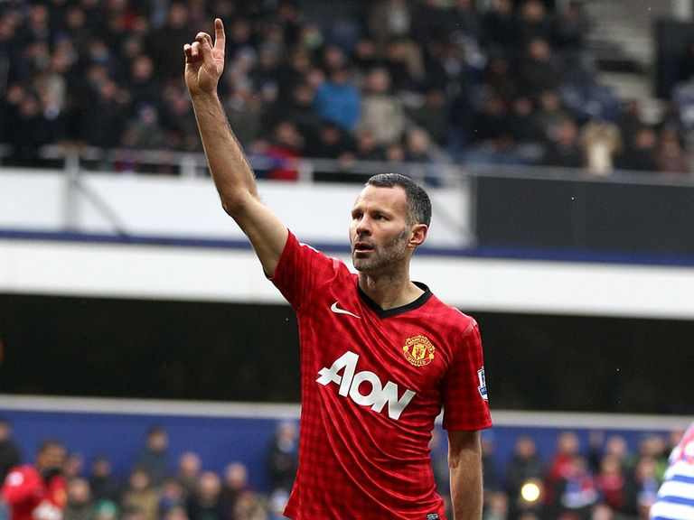 Ryan Giggs celebrates at Loftus Road
