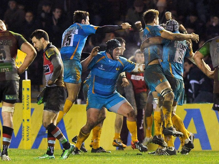 Wasps celebrate at the final whistle
