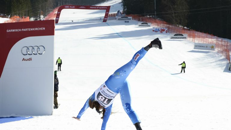 Tina Maze: Slovenian celebrated ninth win of the season with a cartwheel