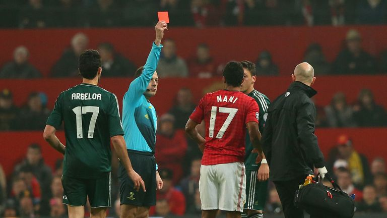 Nani receives his marching orders for the challenge on Arbeloa