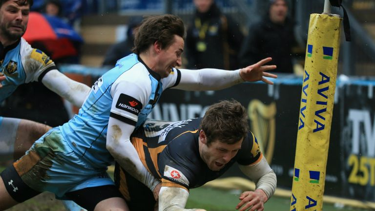 Elliot Daly was awarded this try after a lengthy TMO decision