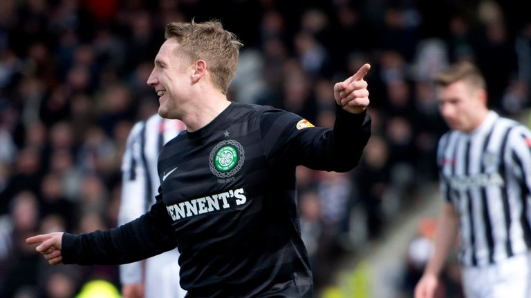 Kris Commons: Celebrating his goal for Celtic at St Mirren before suffering ankle injury