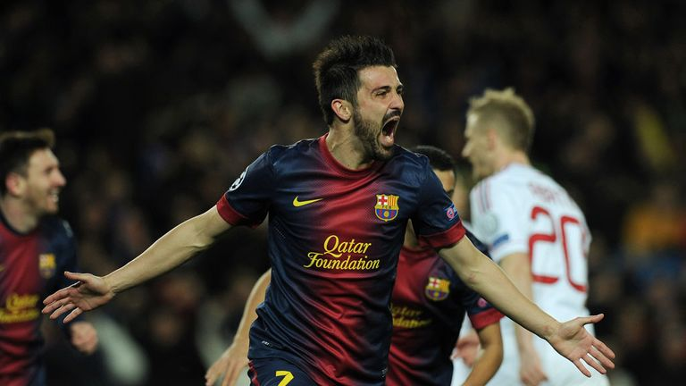 Villa: Netted the crucial third goal for Barcelona