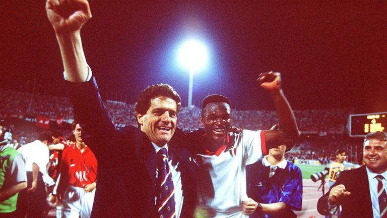 Fabio Capello and Marcel Desailly celebrate Champions League glory