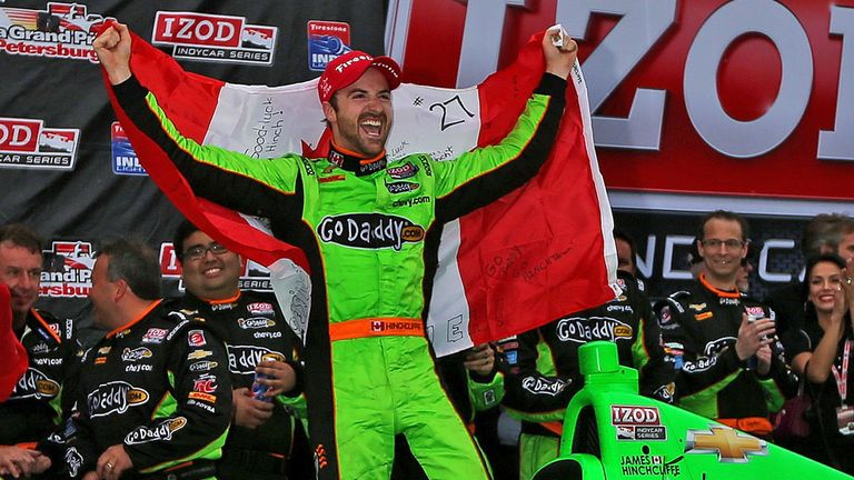James Hinchcliffe celebrates after winning GP of St Petersburg