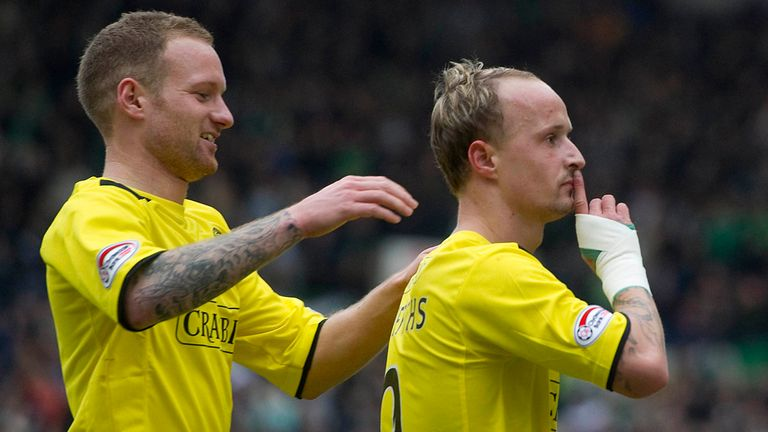 Leigh Griffiths: Celebrates one of his goals at Rugby Park