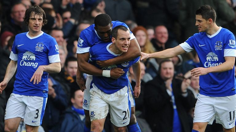 Everton celebrate Leon Osman's opener against Manchester City