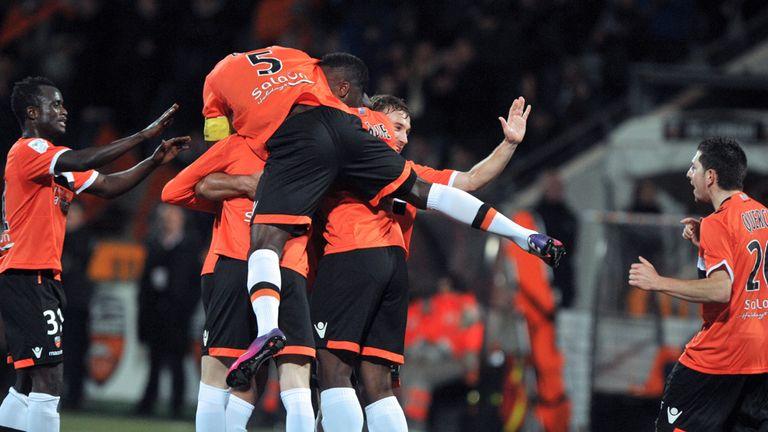 Lorient celebrate Wesley Lautoa's strike