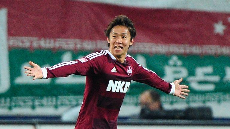 Hiroshi Kiyotake celebrates his goal for Nurnberg