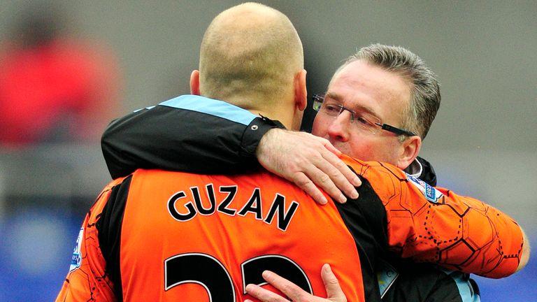 Paul Lambert congratulates Brad Guzan after Aston Villa's 2-1 win at Reading last Saturday