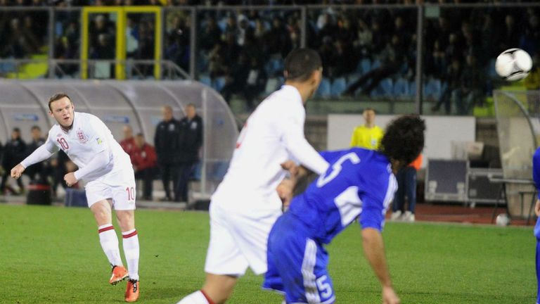 Wayne Rooney scores for England during last month's 8-0 win in San Marino
