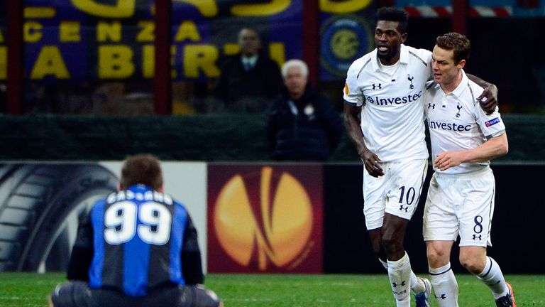 Emmanuel Adebayor celebrates goal at Inter Milan