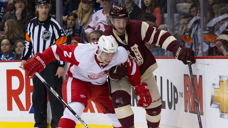 Brendan Smith of the Red Wings tussles with Steven Pinizzotto of the Canucks in Saturday's battle in Vancouver