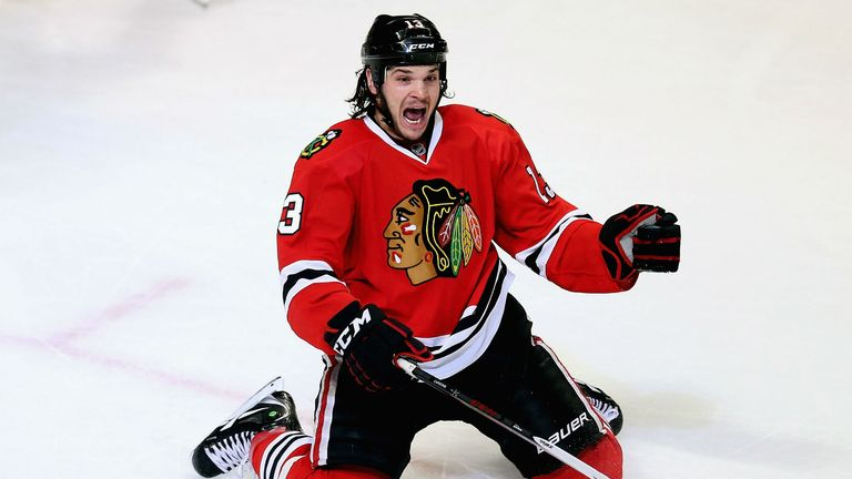Daniel Carcillo celebrates his game-winning goal for the Chicago Blackhawks