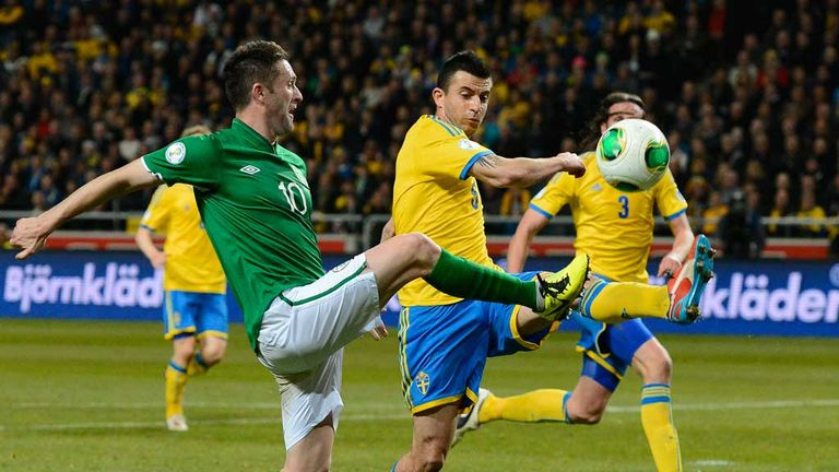 Robbie Keane in action against Sweden on Friday