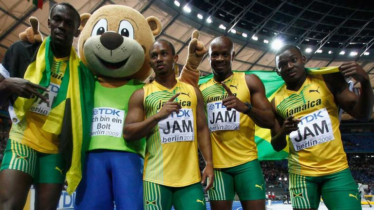 Steve Mullins, far right, with Usain Bolt (l) and Jamaica team-mates in 2009