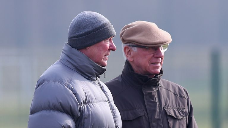Sir Bobby Charlton: At Manchester United's training ground with Sir Alex Ferguson