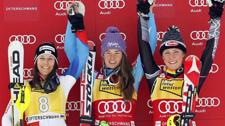 Tina Maze: Tops the podium for the 10th time this season