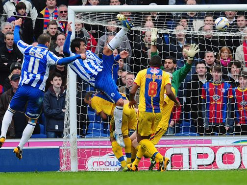Leonardo Ulloa scores the first of his two goals