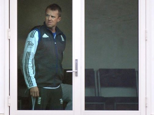 Swann watches the rain fall in Dunedin