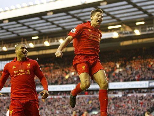 Steven Gerrard enjoys his winner for Liverpool in the 3-2 win over Tottenham.