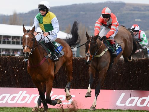 Carrickboy (left) sprang a 50/1 surprise on day three