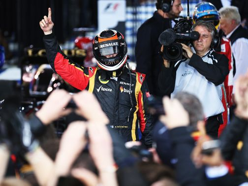 Raikkonen celebrates his victory in Melbourne