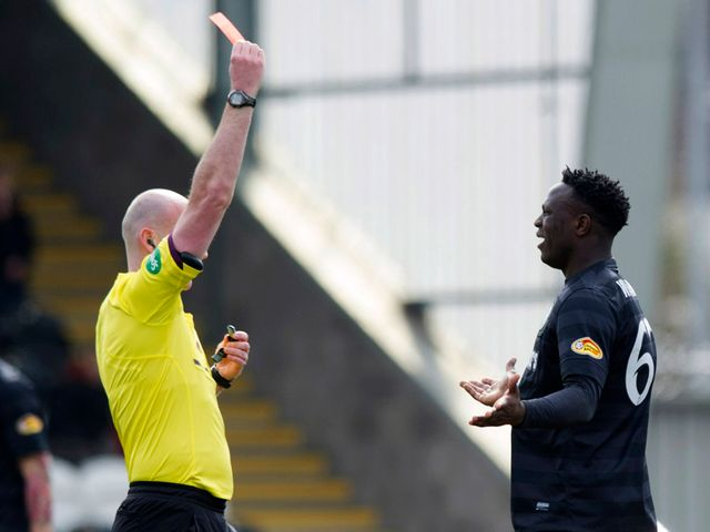 Victor Wanyama was shown a straight red card