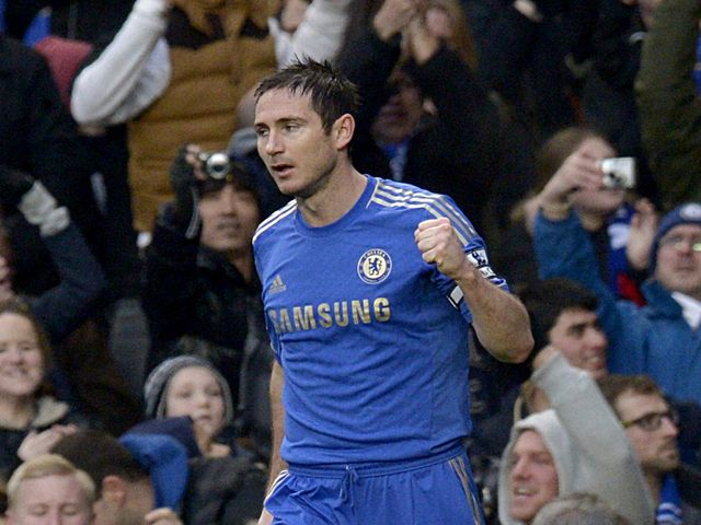 Frank Lampard celebrates scoring Chelsea's opening goal