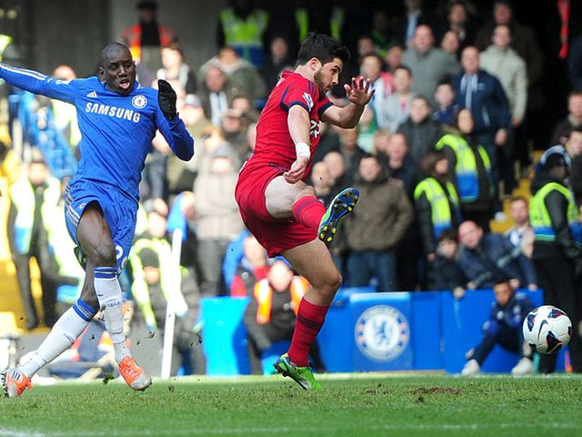 Demba Ba opens the scoring for Chelsea