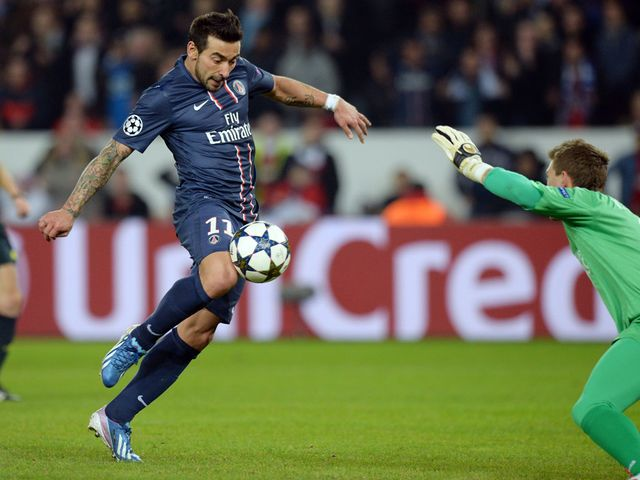 Ezequiel Lavezzi scores PSG's equaliser on the night