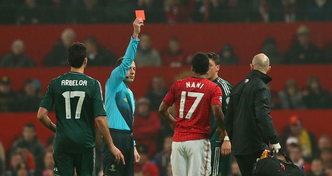 Nani is dismissed with Manchester United leading the tie on aggregate