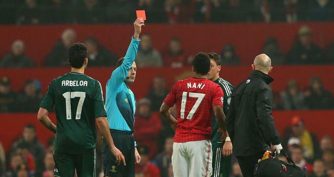 欧足联支持向纳尼出示红牌
