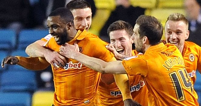 Sylvan Ebanks-Blake celebrates Wolves' second