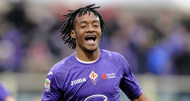 Juan Cuadrado celebrates his goal for Fiorentina