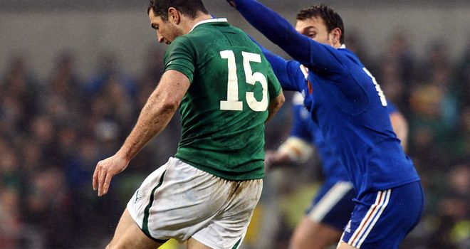 Rob Kearney: In action against France for an Ireland side in a three-way battle to avoid the wooden spoon