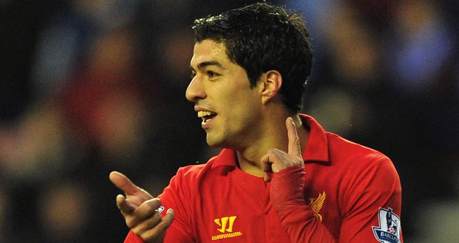 Luis Suarez: Celebrates topping the Premier League scoring charts
