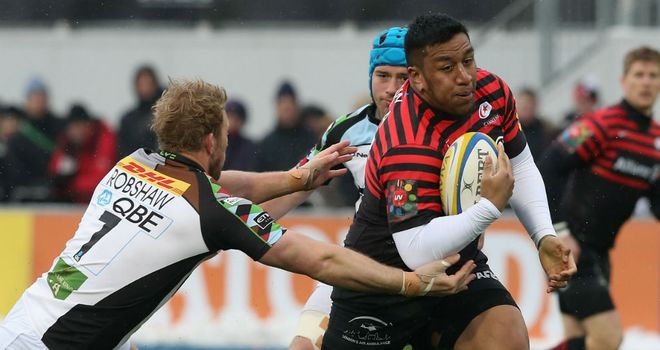 Mako Vunipola on the charge for Saracens